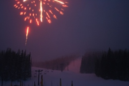 Monarch Mountain New Years Eve Celebration featuring awesome slope-side fireworks, food, and a torchlight parade.  3 miles from Ski Town Condos.