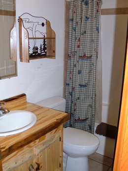 Full bathroom with a shower and bath, log cabinet with a white sink, mirror, and metal art shelf above the toilet.  Shower curtain with a fishing theme.
