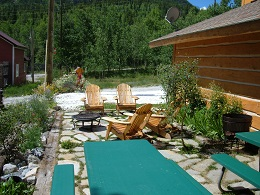 The stone patio at Ski Town Condos is a great place to relax & enjoy the sunshine.