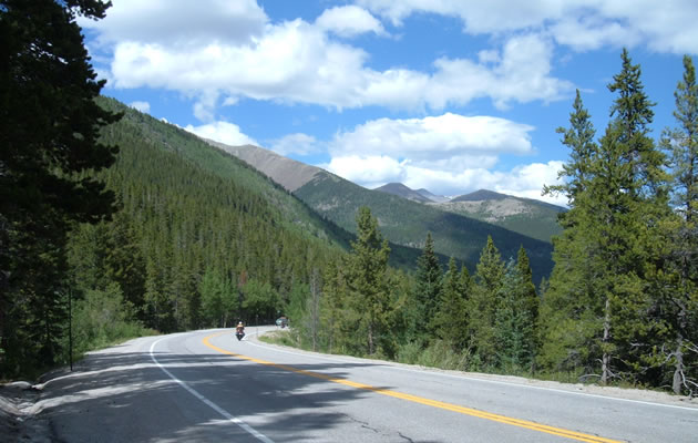 Motorcycle riding a mountain pass with pine trees lining the pass.  Blue sky with white clouds.